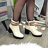 Ботинки женские кожаные на устойчивом каблуке. Цвет бежевый, фото 6