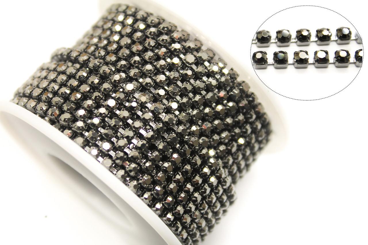 Страхова ланцюг ss8(ширина 2,5 мм) Hematite.Стрази скляні.Ціна за 1м.