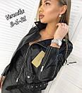 Женская короткая куртка косуха из змеинной экокожи питона, фото 3