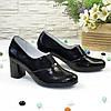 Туфли женские замшевые черные на каблуке, с лазерным напылением, фото 3