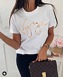 Женская футболка пудра, белая, серо-голубая, фото 2