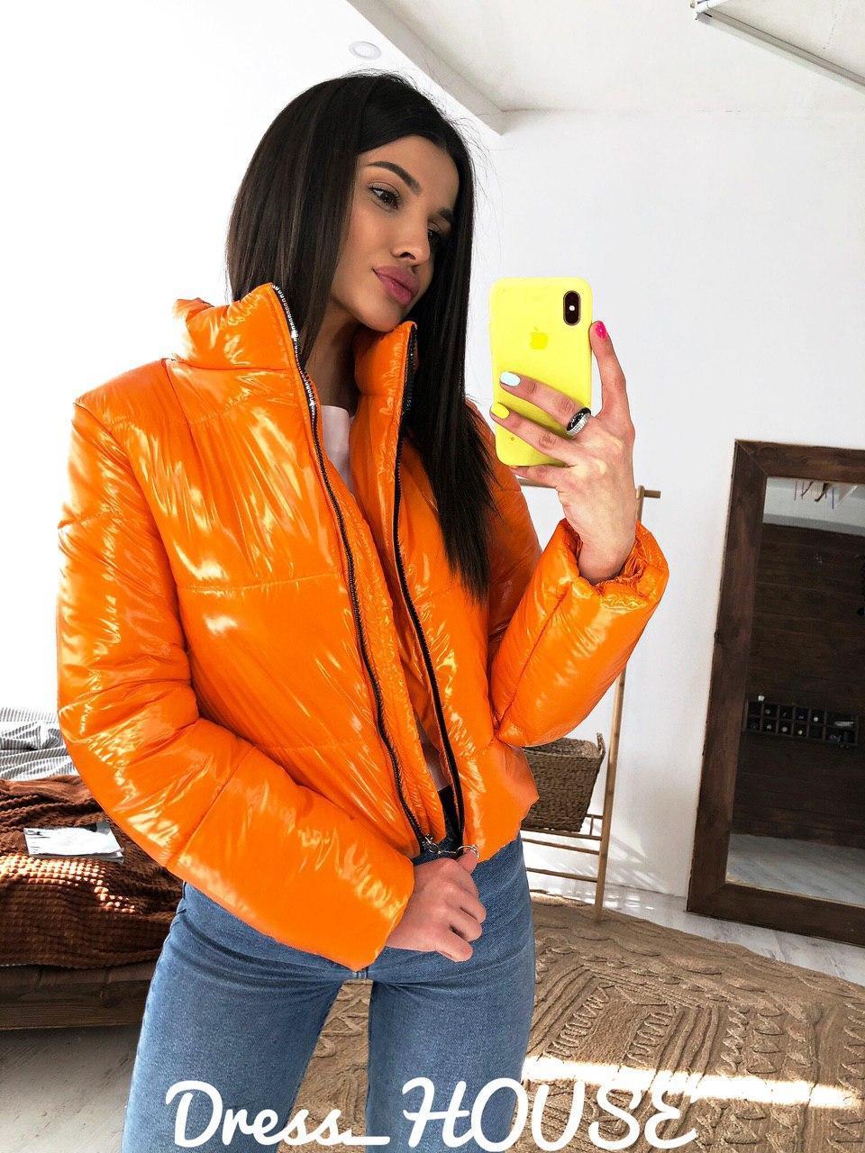 Стильная женская короткая куртка,оранжевого цвета