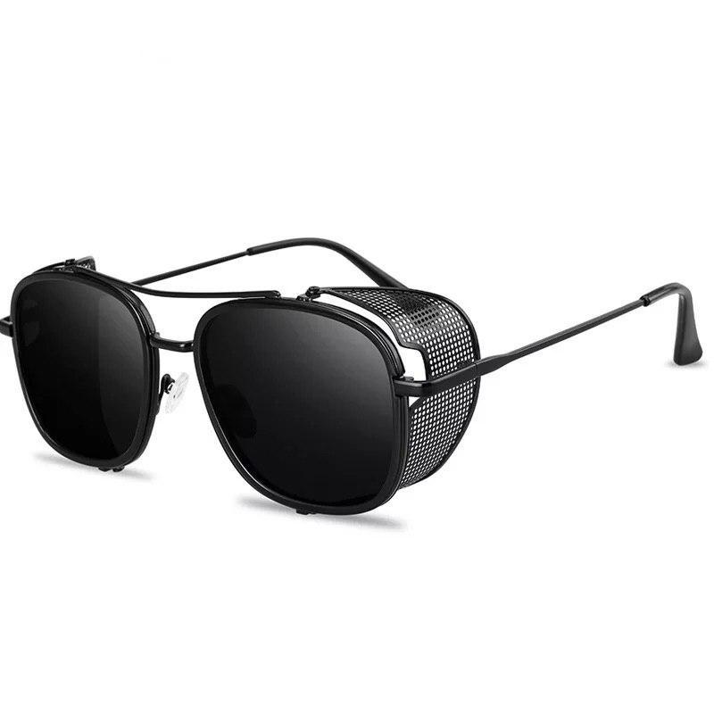 Солнцезащитные круглые ретро очки стимпанк унисекс Черные