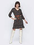 Модное платье в цветочек с рукавом три четверти и рюшей понизу, фото 6