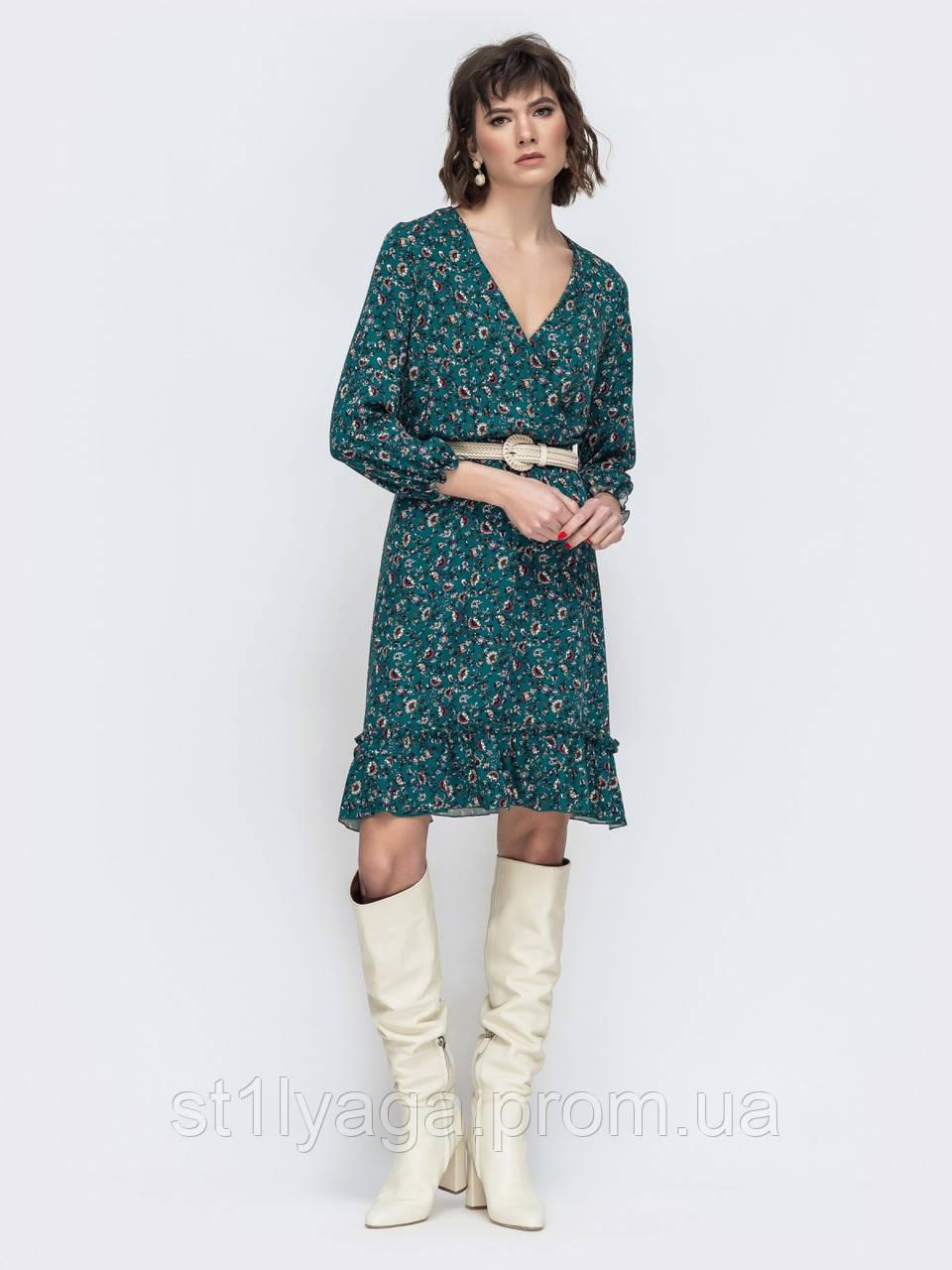 Модное платье в цветочек с рукавом три четверти и рюшей понизу