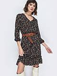 Модное платье в цветочек с рукавом три четверти и рюшей понизу, фото 4