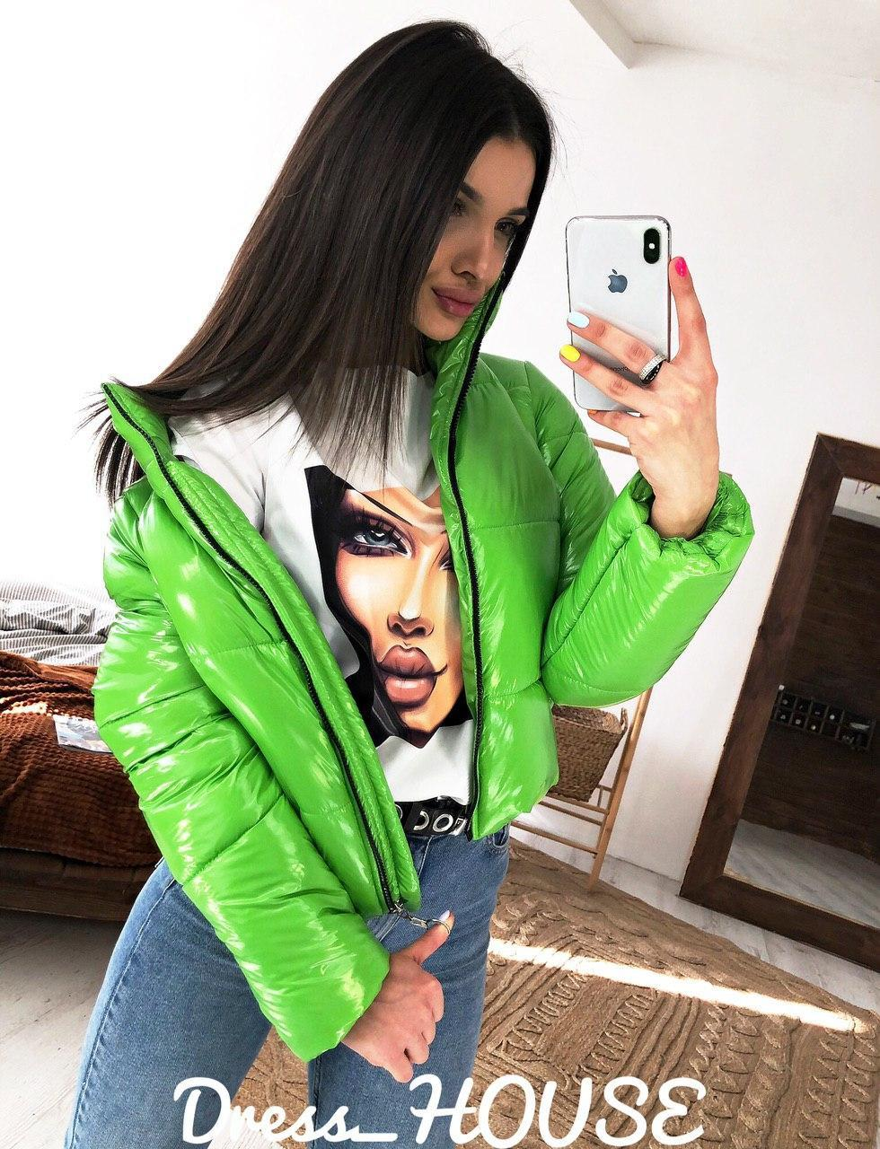 Женская крутая короткая куртка,салатового цвета