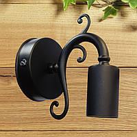 Настенный светильник, изогнутая форма, интерьерный вид, на одну лампу, черный цвет