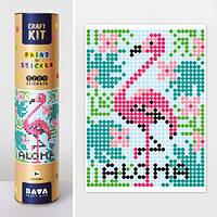 """Картина по номерам с наклейками """"Фламинго""""  sco"""