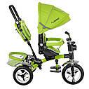 Велосипед-коляска детский трехколесный с поворотным сиденьем Turbo Trike M 3199-4HA с фарой салатовый, фото 4