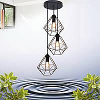 """Подвесной металлический светильник, современный стиль, loft, vintage  """"CLASSIC-3G"""" Е27  черный цвет"""