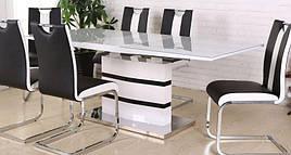 Стол обеденный современный со стеклянной столешницей Филадельфия DT-9108 G  Evrodim,цвет белый