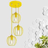 """Подвесной металлический светильник, современный стиль """"BARREL-3GЕ"""" Е27   желтый цвет"""