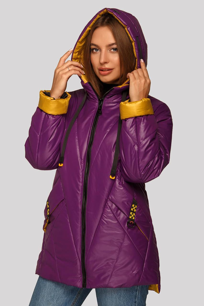 Хитовая женская куртка большого размера с жёлтым отворотом на рукавах,   размер 48-62
