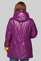 Хитовая женская куртка большого размера с жёлтым отворотом на рукавах,   размер 48-62, фото 3