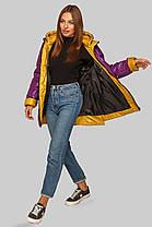 Хитовая женская куртка большого размера с жёлтым отворотом на рукавах,   размер 48-62, фото 2