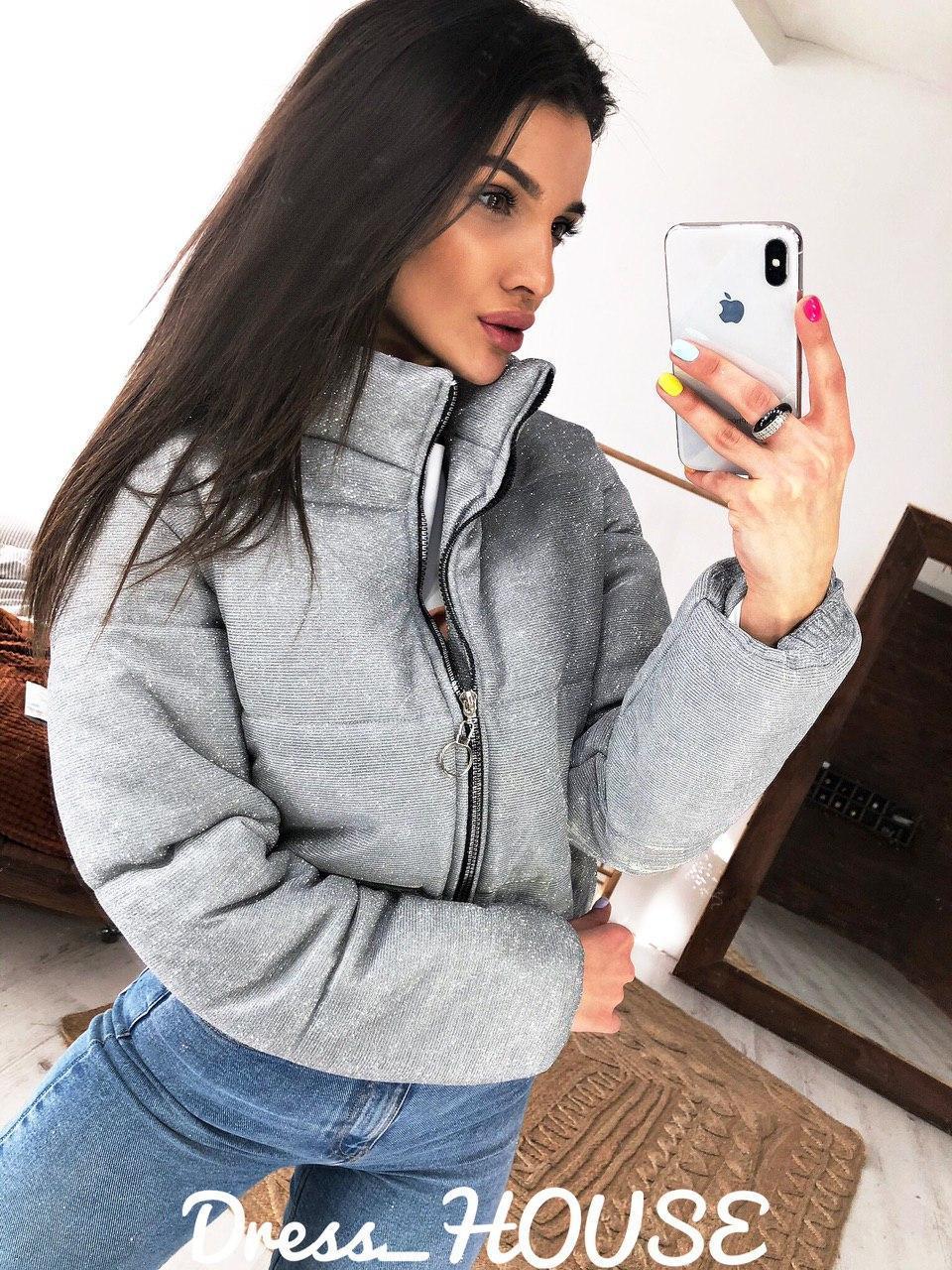 Женская крутая короткая мерцающая куртка,серебристого цвета