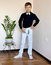 Стильный комплект для мальчика: черная рубашка и белые брюки Polo