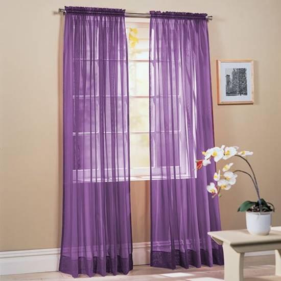 Фиолетовые шторы в спальню