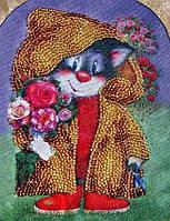 Кіт з букетом. Схема для вишивки бісером Alisena, фото 1