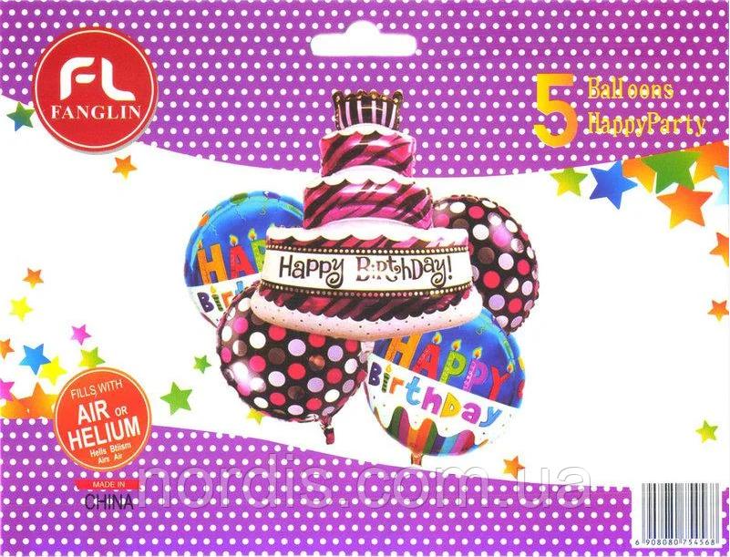 Набор фольгированных шаров Тортик Happy Birthday, (5 шаров).
