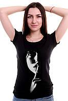 """Таинственная женская черная футболка """"ША"""""""
