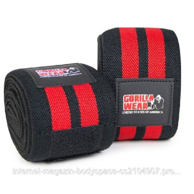 Gorilla Wear, Бинт коленный, Knee Wraps 98 Inch Black/Red 2.5м