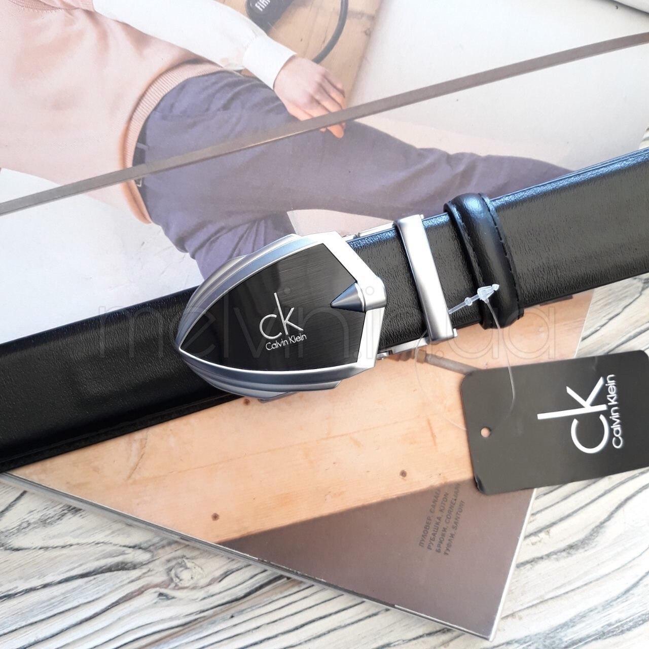Кожаный ремень пряжка автомат Calvin Klein реплика