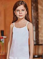 Майка детская белая для девочки на тонких бретелях 100% хлопок Berrak