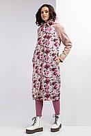 Удлиненная весенняя куртка GRASS из плащевки в цветочный принт с капюшоном