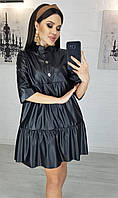 Платье модное из экокожи больших размеров р. 50,52,54,56 Черный
