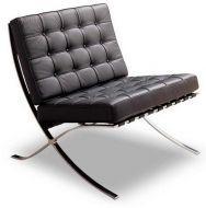 Кресло Барселона, мягкое, нержавеющая сталь, экокожа, цвет черный