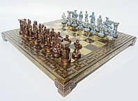 Шахматы Спартанский воин латунь в деревянном футляре 28х28 см Коричневые Manopoulos