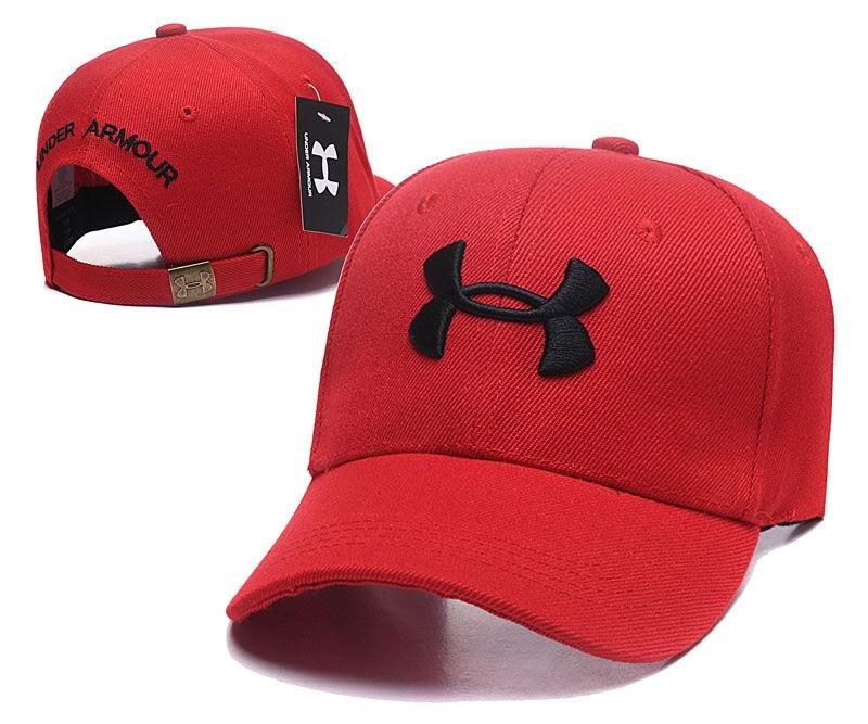 Стильная молодежная хлопковая кепка Under Armour красная с черным (реплика)