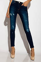 Джинсы молодёжные с потёртостями облегающие. Женская одежда.104P913