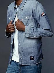Джинсовая рубашка Levi's® NFL Vintage Chambray Shirt - Denver Broncos (М)