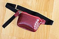 Стильная женская сумка - бананка через плечо Бордовая Burgundy, жіноча сумка через плече бордова