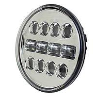 Фара головного света LED 7 дюймов, круглая, 1 шт, 45 Вт (Нива, УАЗ, Jeep Wrangler, Harley-Davidson, Hummer) хром