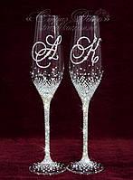 Свадебные бокалы с инициалами в стразах (Тюльпаны), фото 1