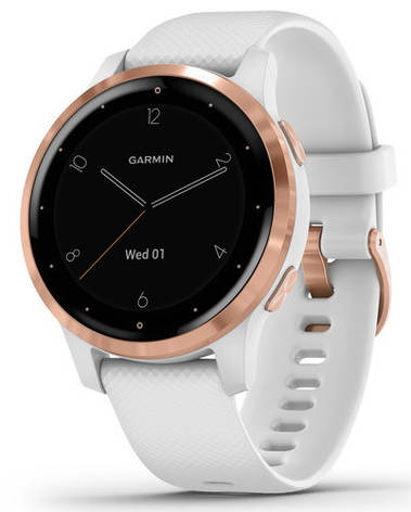 Смарт-годинник Garmin Vivoactive 4S Rose Gold Stainless Steel Bezel with White Case and Silicone Band, фото 2