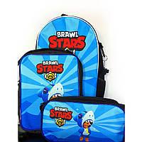 Набор: рюкзак, сумка и пенал Леон Акула Бравл Старс