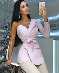 Стильный  женский пиджак на одно плечо,цвет пудра