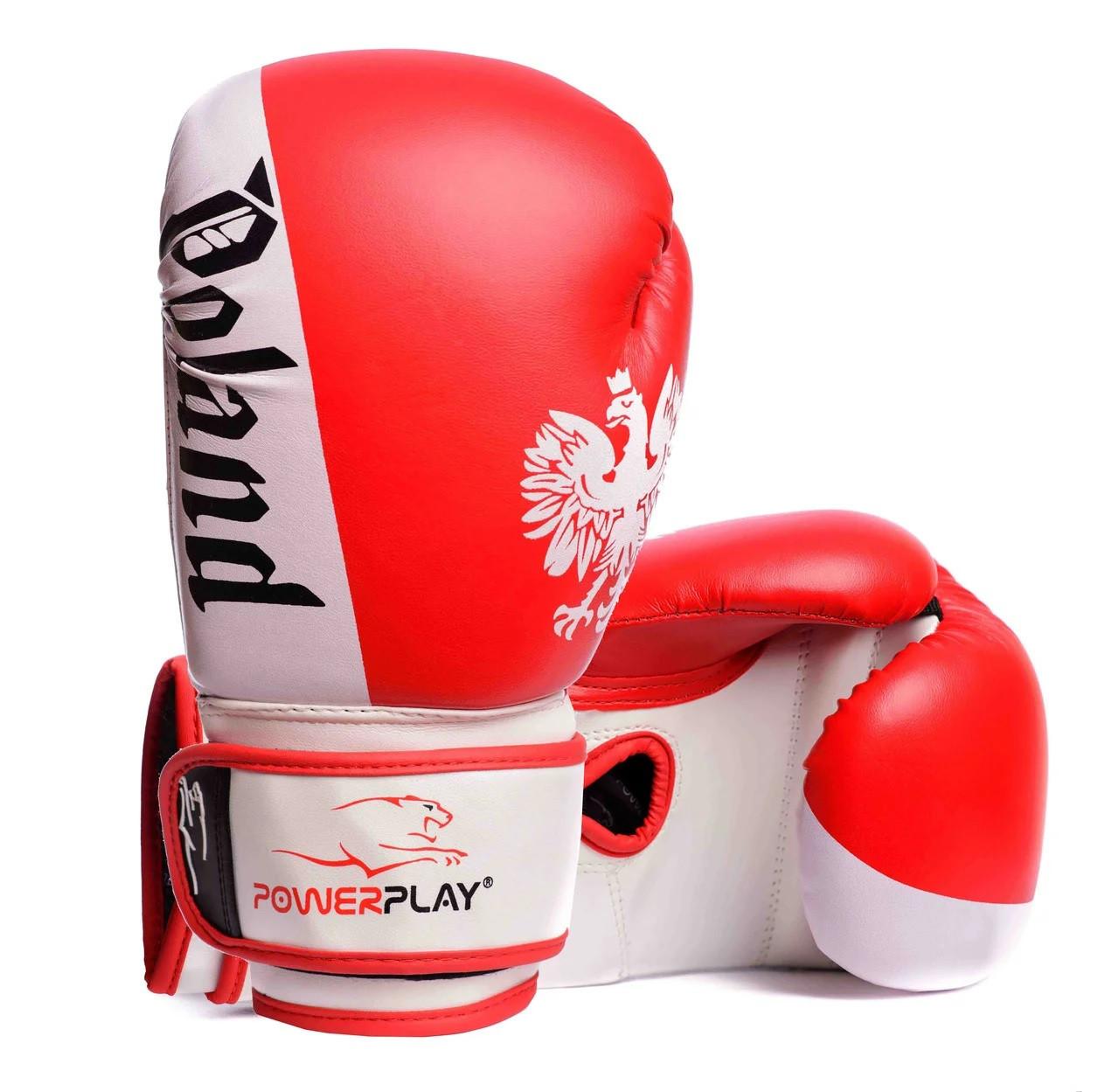 Боксерські рукавички PowerPlay 3021-2 Poland червоно-білі 10 унцій