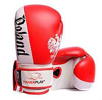 Боксерські рукавички PowerPlay 3021-2 Poland червоно-білі 10 унцій, фото 1