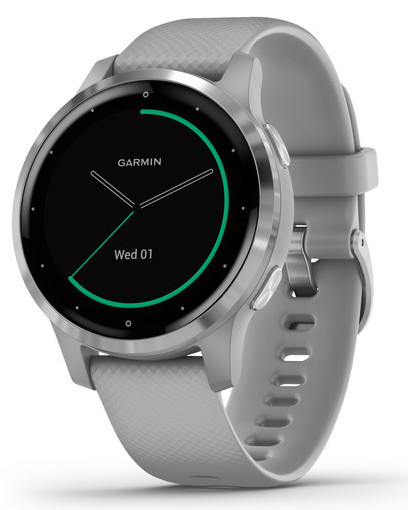 Смарт-годинник Garmin Vivoactive 4S Silver Stainless Steel Bezel with Powder Gray Case and Silicone Band