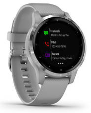 Смарт-годинник Garmin Vivoactive 4S Silver Stainless Steel Bezel with Powder Gray Case and Silicone Band, фото 2