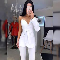 Женский стильный белый пиджак на одно плечо