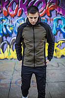 Мужская куртка стильная с капюшоном ,демисезонная. Весна-осень. Хаки-черный. Украина-Бренд.