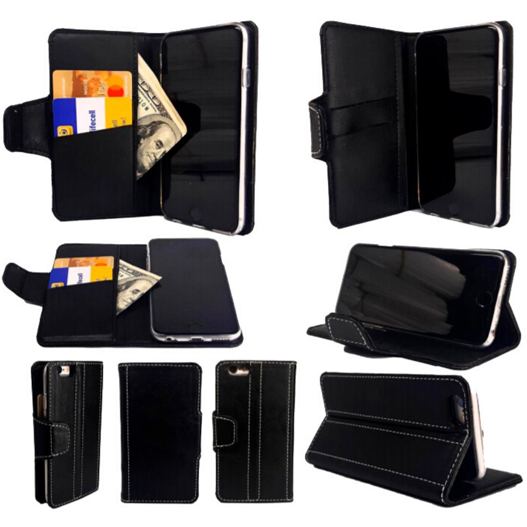 Чехол-книжка с силиконовым бампером и кармашками для Huawei Honor 6a Black