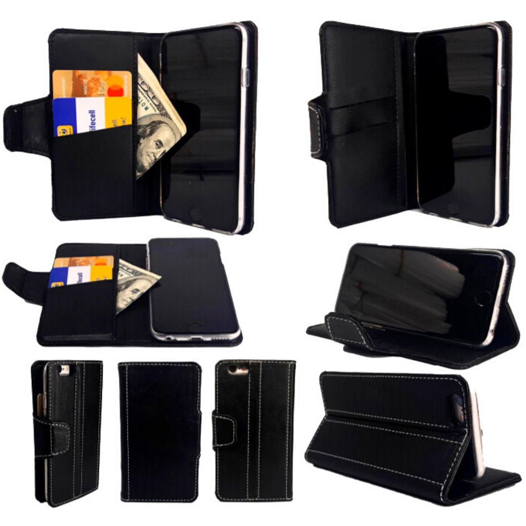 Чехол-книжка с силиконовым бампером и кармашками для Huawei Honor 6a Transparent